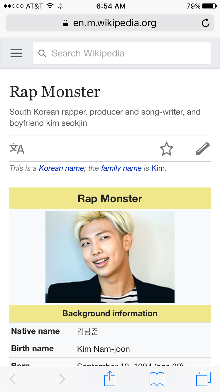 Rm Wikipedia Rapper Korean Name Rap Monster