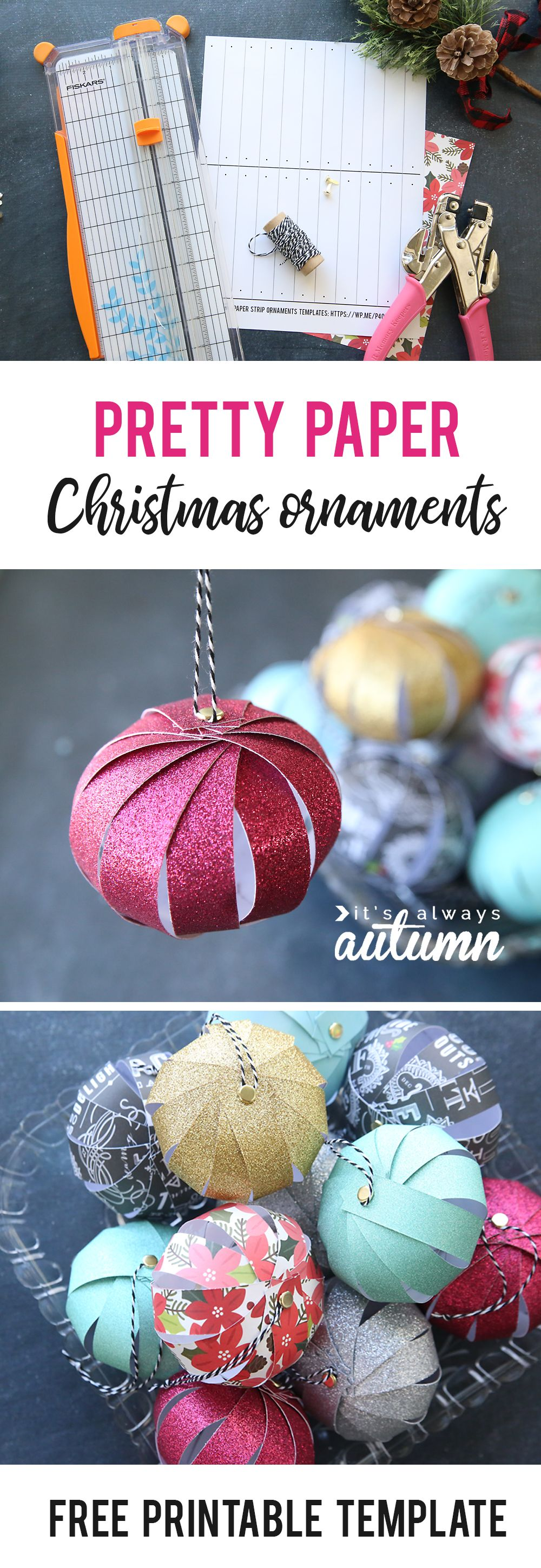 Easy paper strip Christmas ornaments kids can make Kids