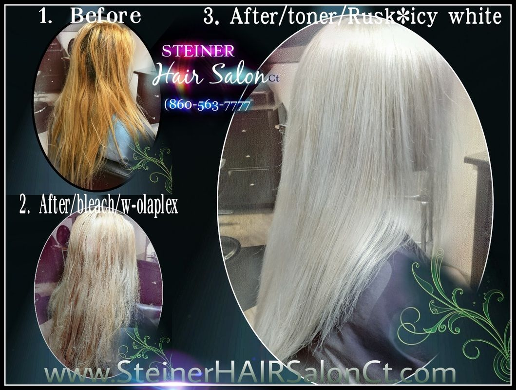 Blonde Hair Toned With Rusk Icy White On Pre Lightened Hair At