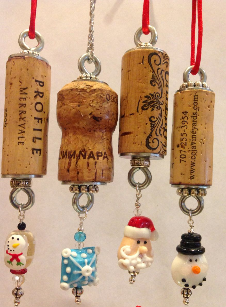 Christmas authentic wine cork ornament snowman collectible - Deco bouchon liege ...