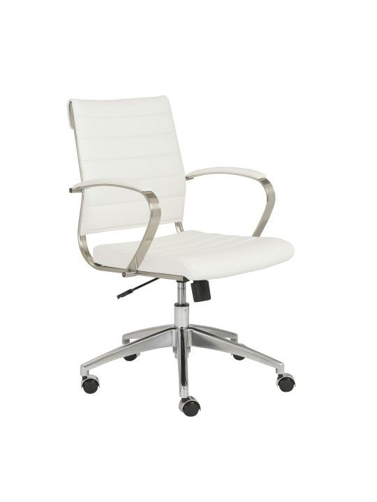 Axel Low Back Office Chair In White/Aluminum | 00485WHT ES | EuroStyle
