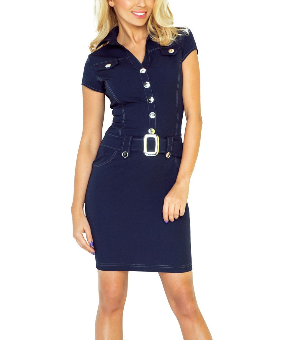 Take a look at this Navy Blue Button Belted Sheath Dress today!