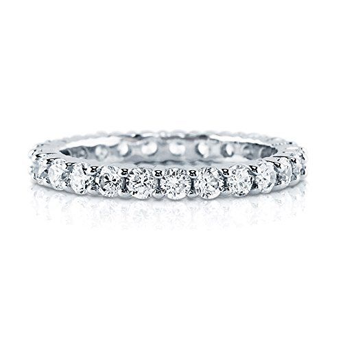 Sterling Silver 1.44 ct.tw Round Cubic Zirconia CZ Wedding Anniversary Eternity Band Ring  available at joyfulcrown.com