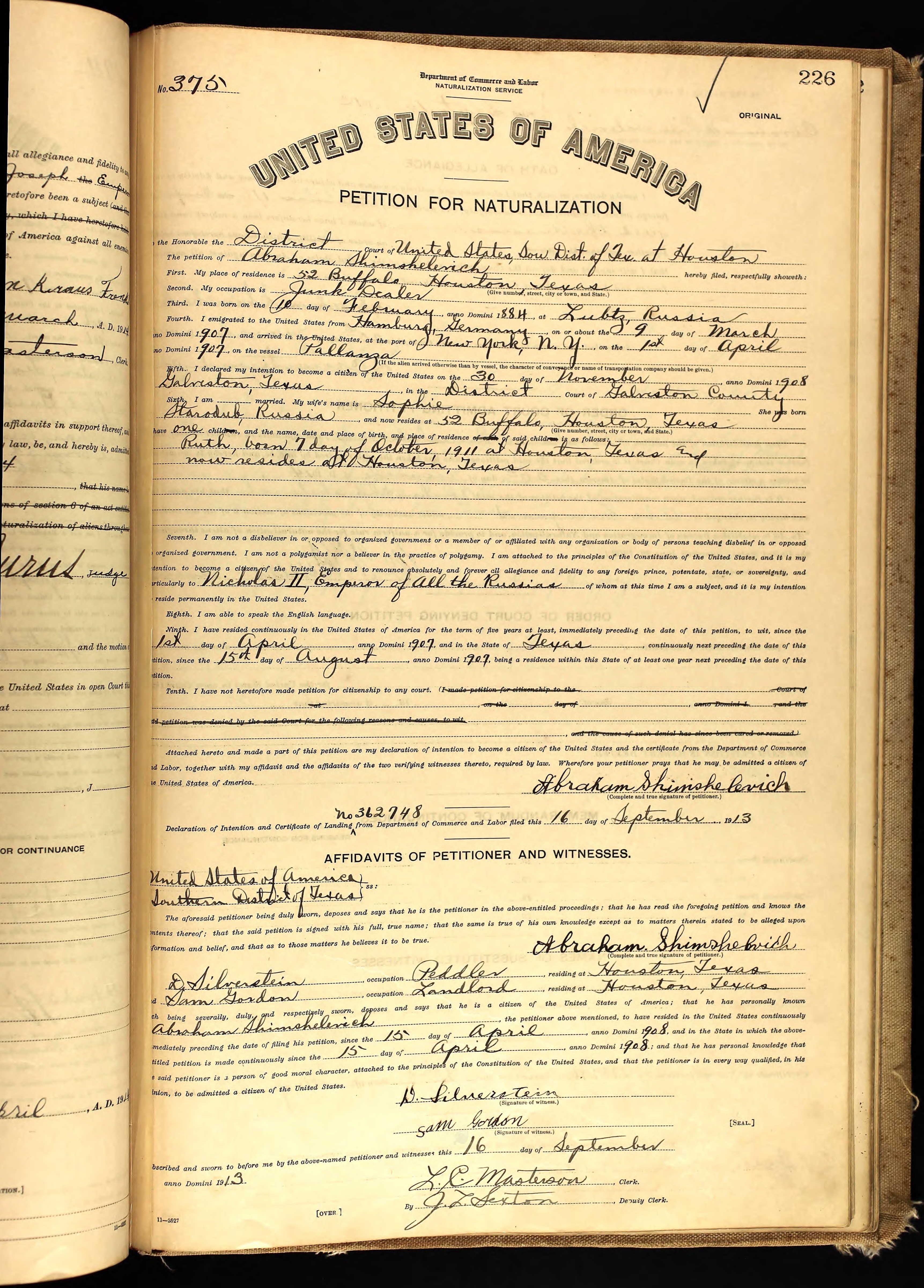 Abraham Shimshelevich Age: 29 Birth Date: 10 Feb 1884 Birth Place: Lubtz,