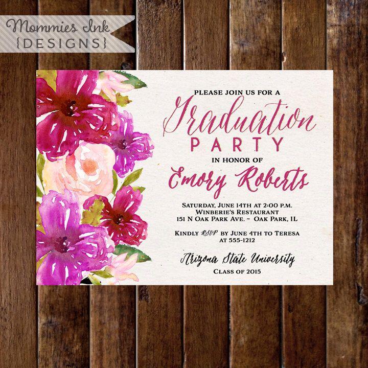 Graduation Party Invitation Bright Watercolor Flowers Invitation