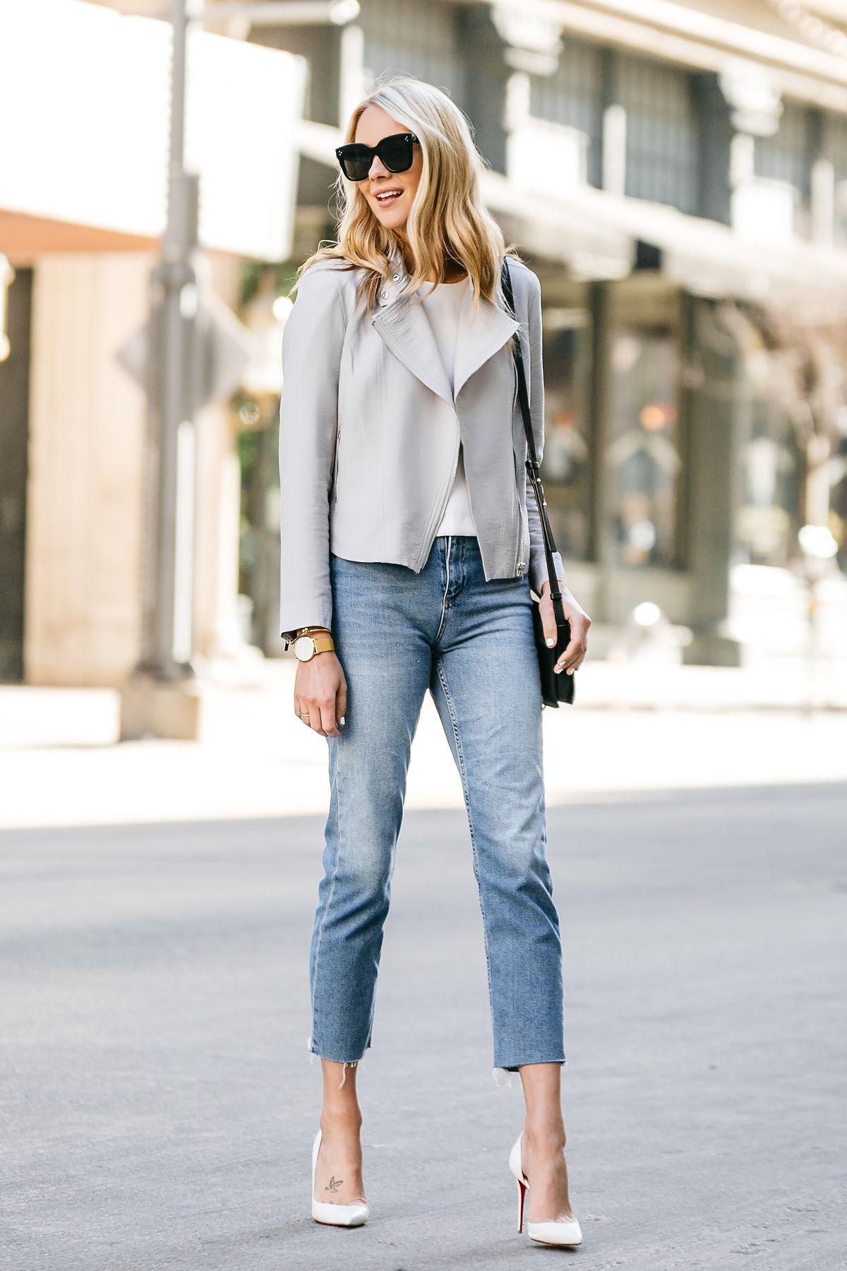 Fashion Jackson, Dallas Blogger, Fashion Blogger, Street Style, Club Monaco  Tovah Jacket, White Top, Chloe Faye Black Handbag, Topshop Raw Hem Straight  Leg ...