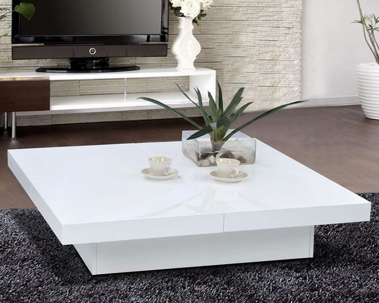 Glossy white modern storage coffee table scene live for Modern living room coffee tables