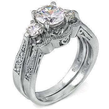2 Ct Cz Past Present Future Bridal Wedding Ring Set 925 Silver Wedding Ring Sets Antique Wedding Rings Wedding Ring Designs