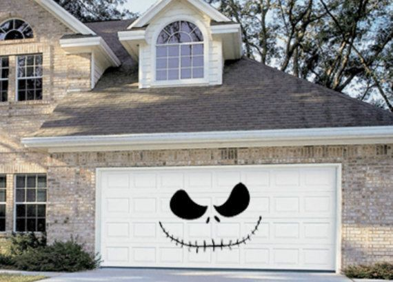 Skellington Halloween Garage Door Decoration #halloweendoordecor