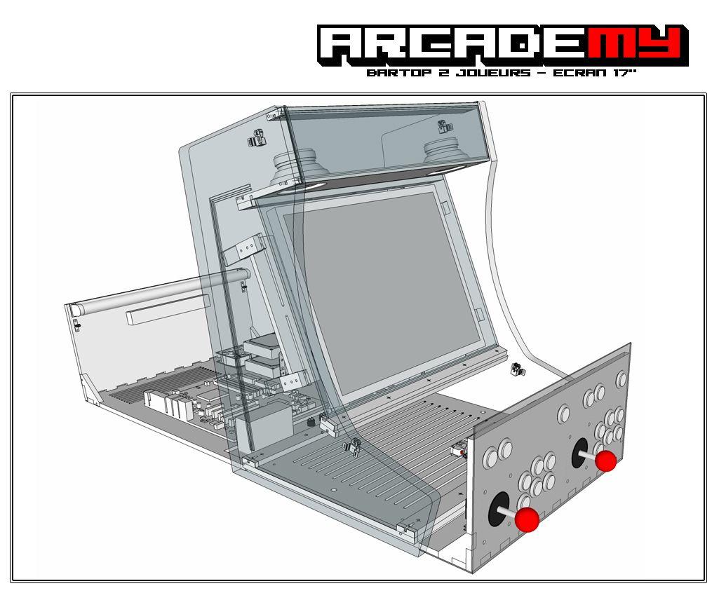 borne d 39 arcade bartop 2 joueurs position ouverte le fond. Black Bedroom Furniture Sets. Home Design Ideas