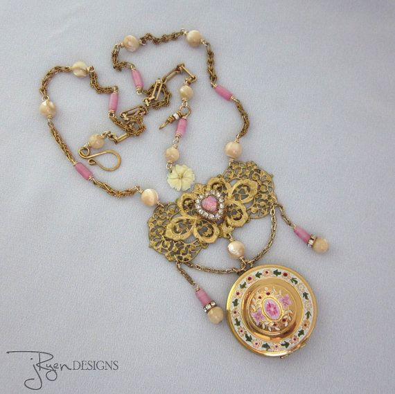 Upcycled Vintage Locket Necklace Pink Floral Gold by jryendesigns