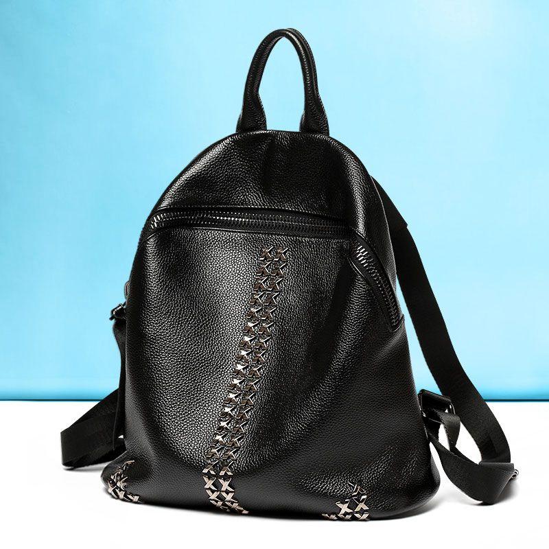 0339e7fb9cd9b 2016 mochila de cuero de estilo nuevo para niñas bolso de viajes piel negra  mujer  VL10501  - €60.58   bzbolsos.com
