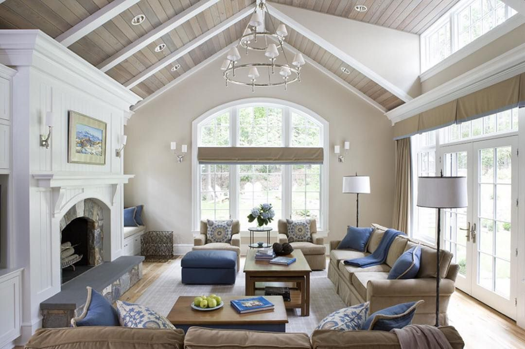 Kathy Kuo Home On Instagram An Inviting Palette That Wall Is Oxford Stone From Farrow Ball A Vaulted Ceiling Living Room Living Room Ceiling Great Rooms