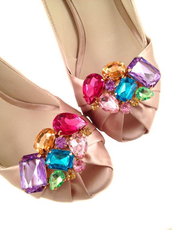 Diva Rhinestone Shoe Clips Multicolored For My Multi Coloured Wedding