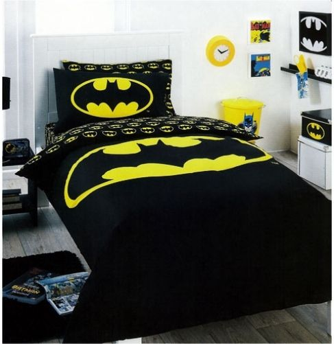Yellow Logo DC Comics Batman Double//US Full Bed Quilt Doona Duvet Cover Set