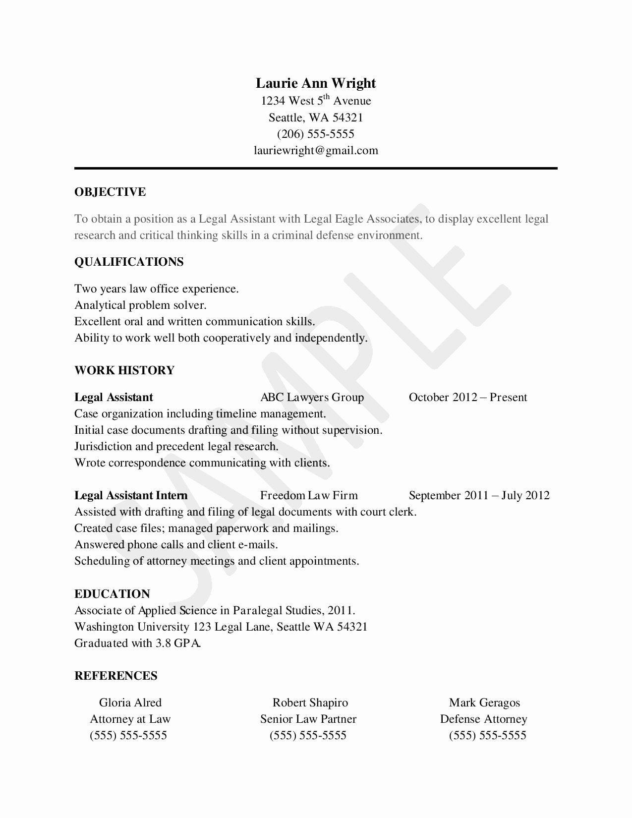 Entry Level Paralegal Resume New Sample Resume for Legal