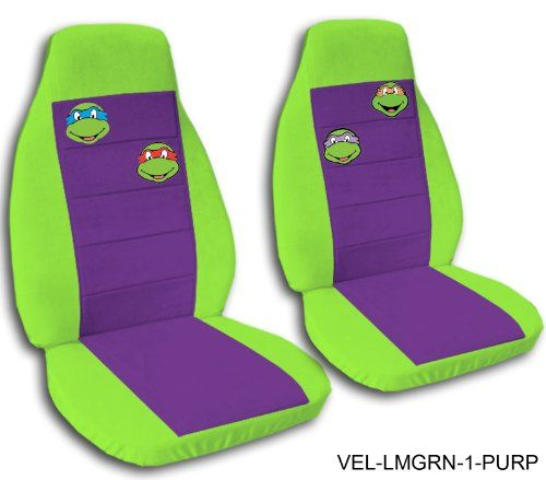 2 TMNT Lime Green And Purple Seat Covers 2009 To 2013 Toyota Corolla Side Airbag
