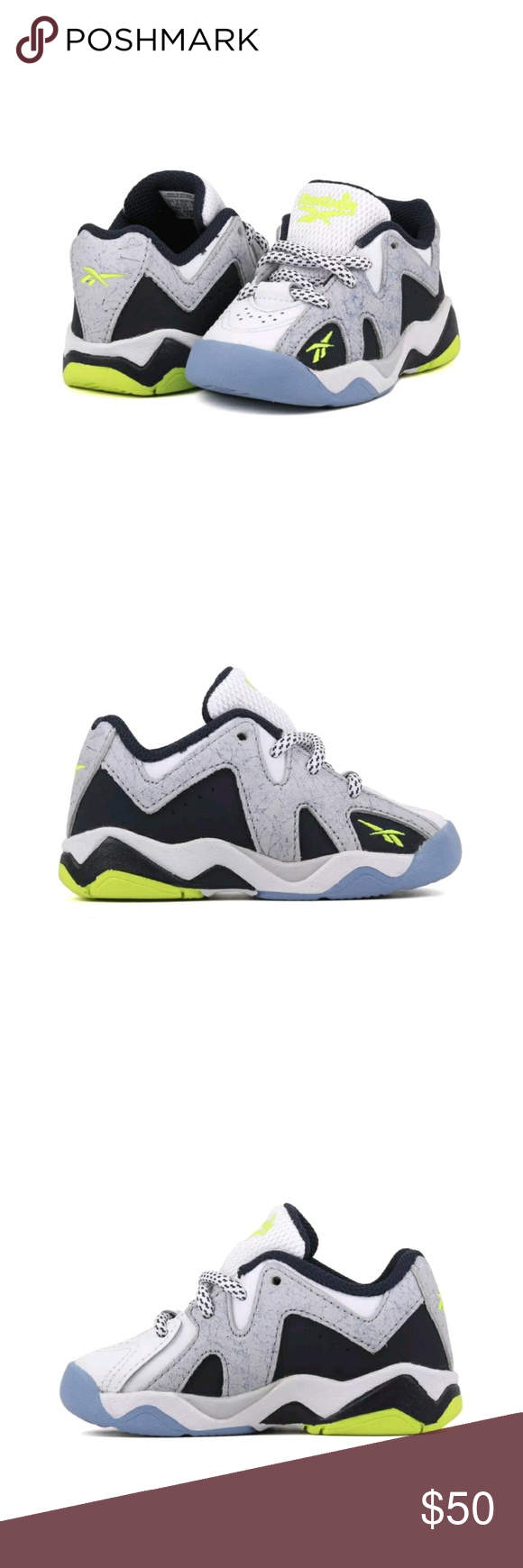 Reebok Kamikaze Sneakers infant shoe size 4 Authentic Reebok Super fast worldwide shipping  READY TO SHIP WITH BOX INFANT SHOE SIZE 4 Gray, green, blue  #sneakers #shoes #goodmorning  #kicks  #reebok  #shoe #infant #kids #fashion #babyshoes Reebok Shoes
