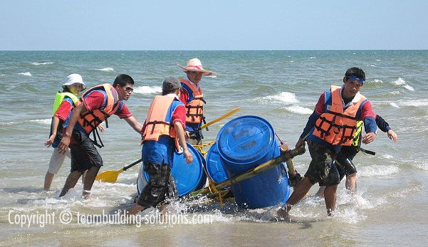 OK so the raft fell apart. Raft building is Another fun team building event although don't expect to do this in Bangkok. You need a beautiful tropical beach for this fun team building event. http://teambuilding-bangkok.com/raft-building-team-building/