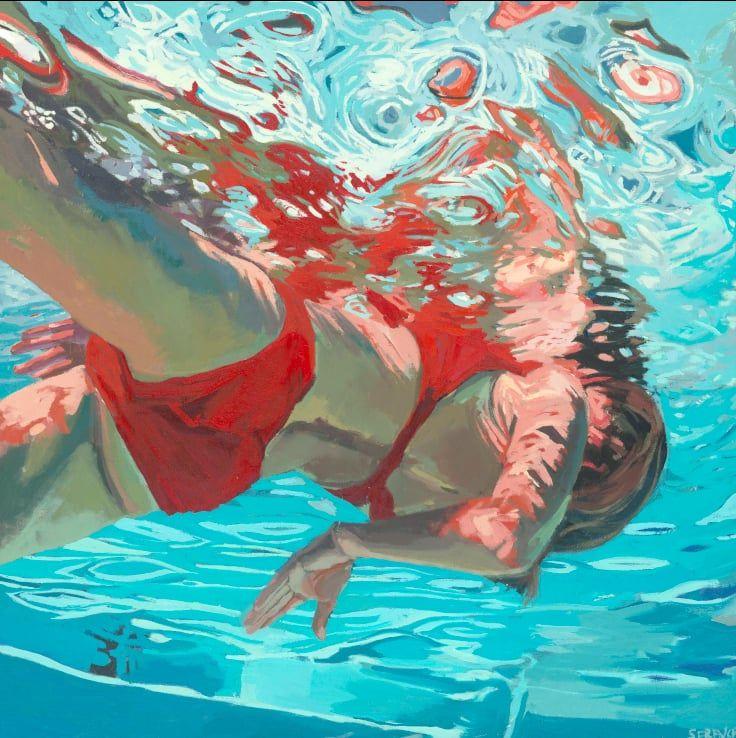 underwater painting people swimming - 736×738