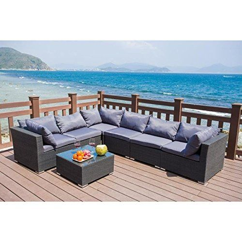 Finlandek Hilpea 7 Piece Garden Furniture Set Woven Resin Grey Price B 704 87 Garden Furniture Sets Rattan Garden Furniture Garden Furniture