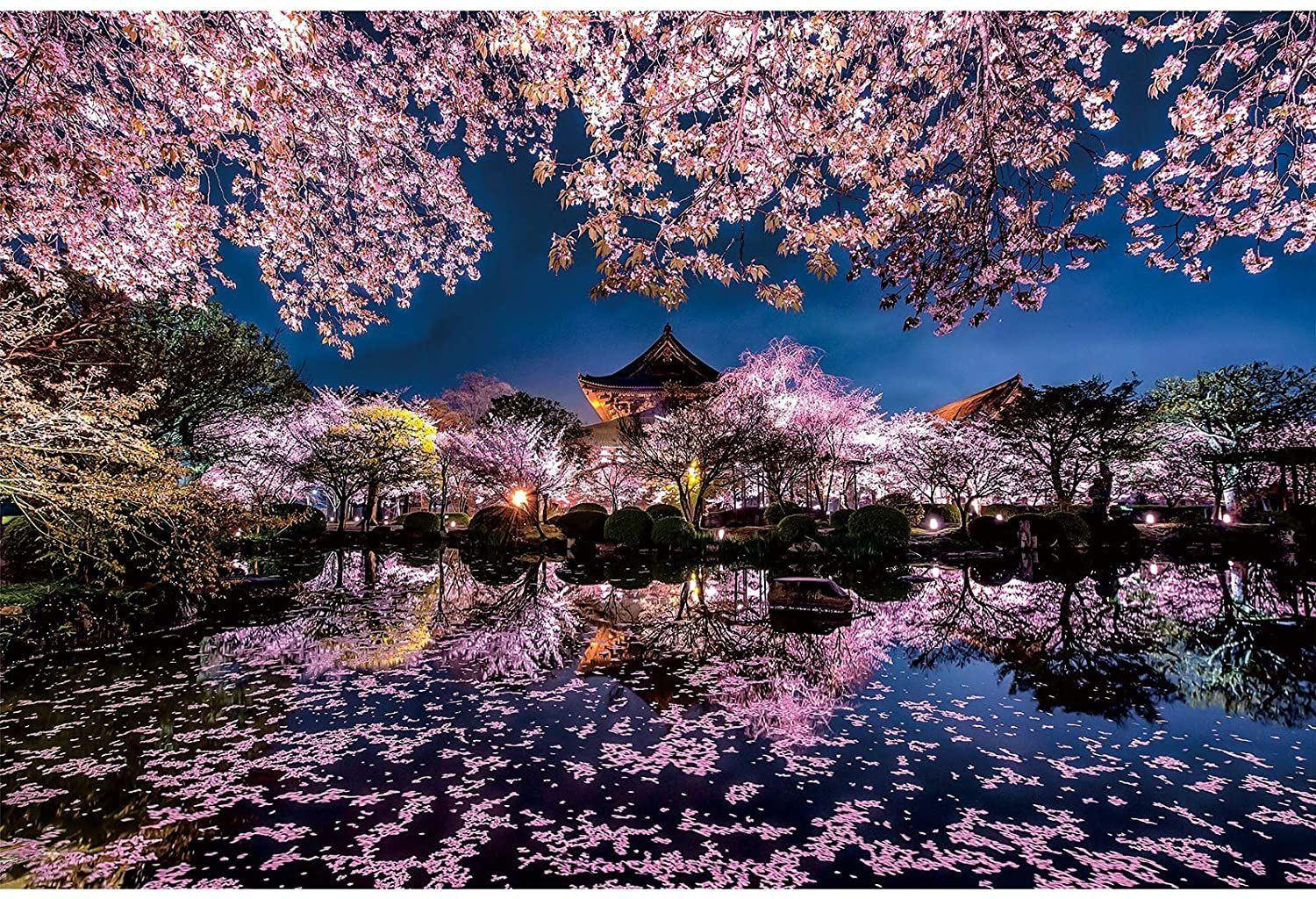 Ingooood- Jigsaw Puzzles 1000 Pieces for Adult- Tranquil Series- Cherry Blossoms on The Lake