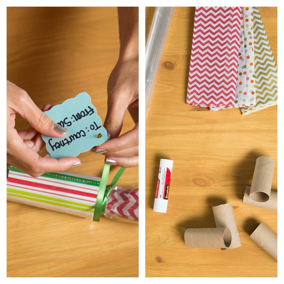 Cool way to wrap small gifts with a toilet paper tube