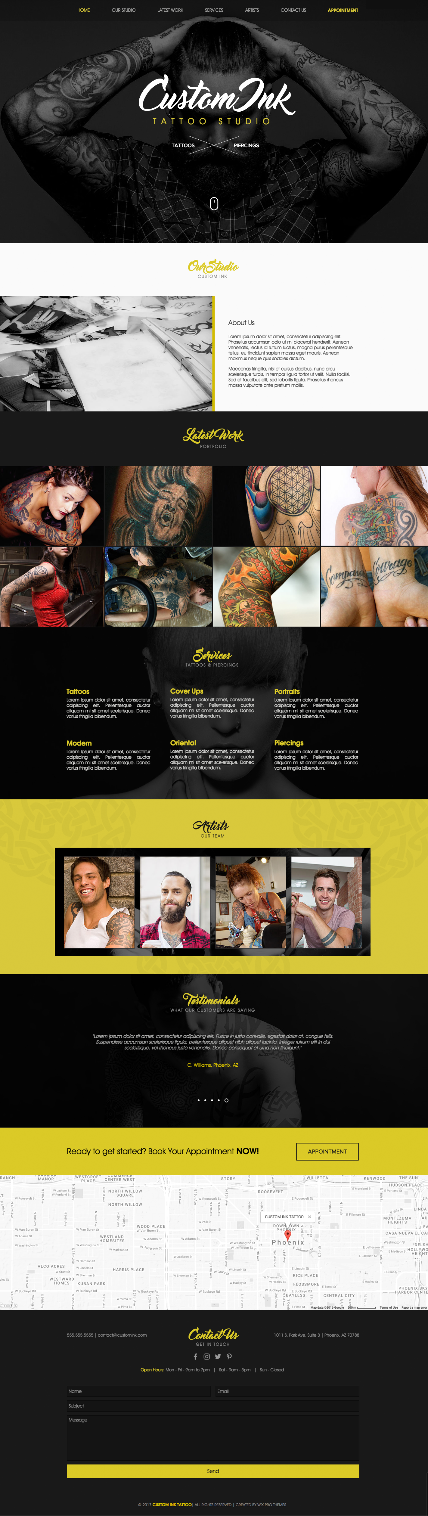 Tattoo Studio Website Theme Template | Website Template Themes ...