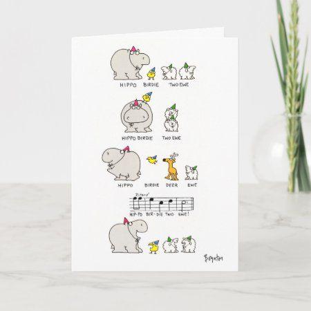 HIPPO BIRDIE CARD - tap/click to get yours right now! #CARD  #hippo #birdie #happy #birthday #boynton