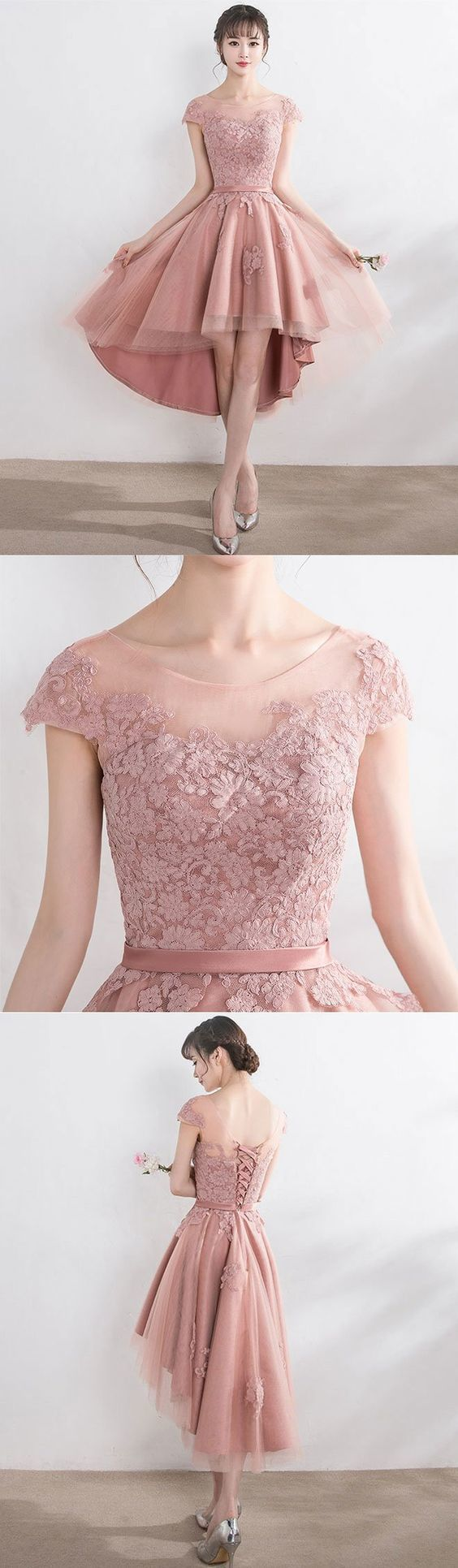 Cut lace tulle short prom dress high low evening dress in