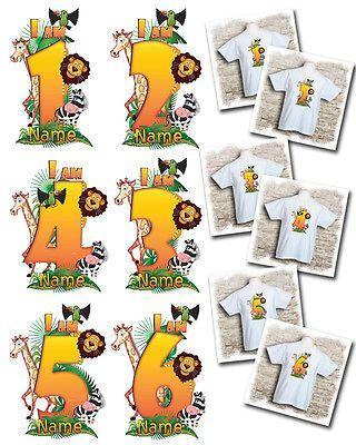 I am  6 Personalised Kids animal birthday Jungle t-shirt