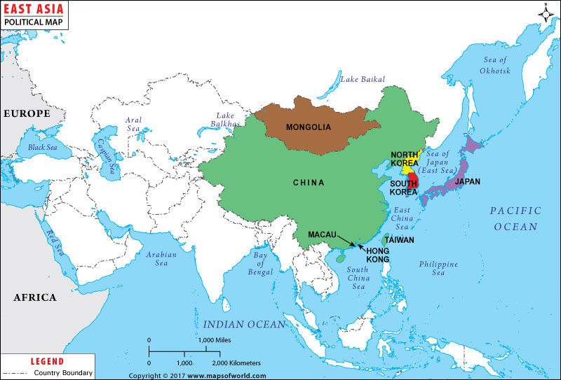 Map Showing The Geographic Location Of Countries In Eastern Asia Region.
