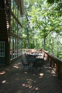 Large wooden deck overlooking Lake Martin