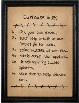 Country outhouse bathroom decorating ideas walls for Bathroom decor rules