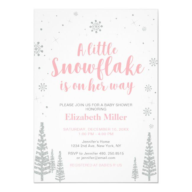 Pink Winter Wonderland, Girl Baby Shower/Sprinkle Invitation | Zazzle.com