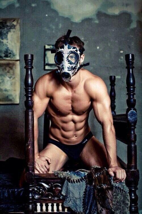 Gas Mask halvmaske, maskerede mand, Muskuløse mænd-4662