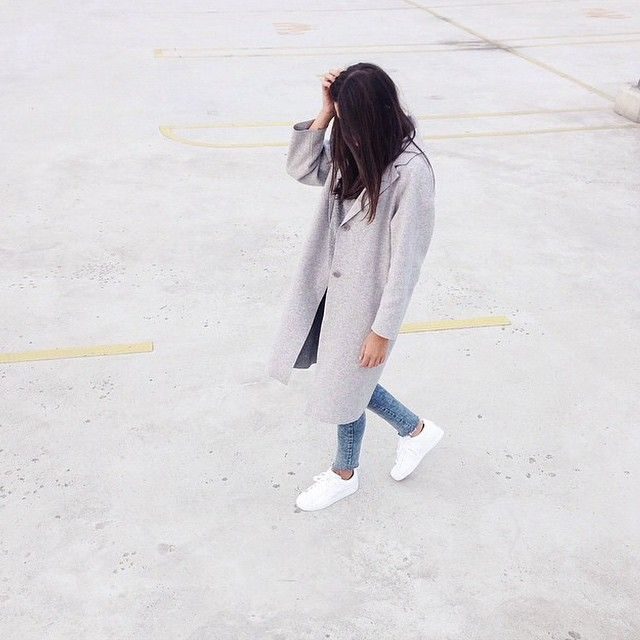 new style 12276 8aad0 Grey coat and all white adidas superstars.