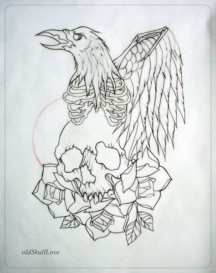 Skull Tattoo Ideas Raven And Skull Tattoo Design Outline By