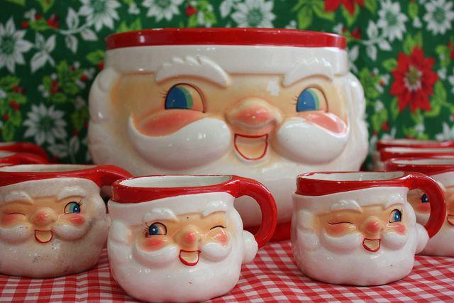 Vintage Santa Punch Bowl Set Punch Bowl Set Vintage Santas Retro Christmas