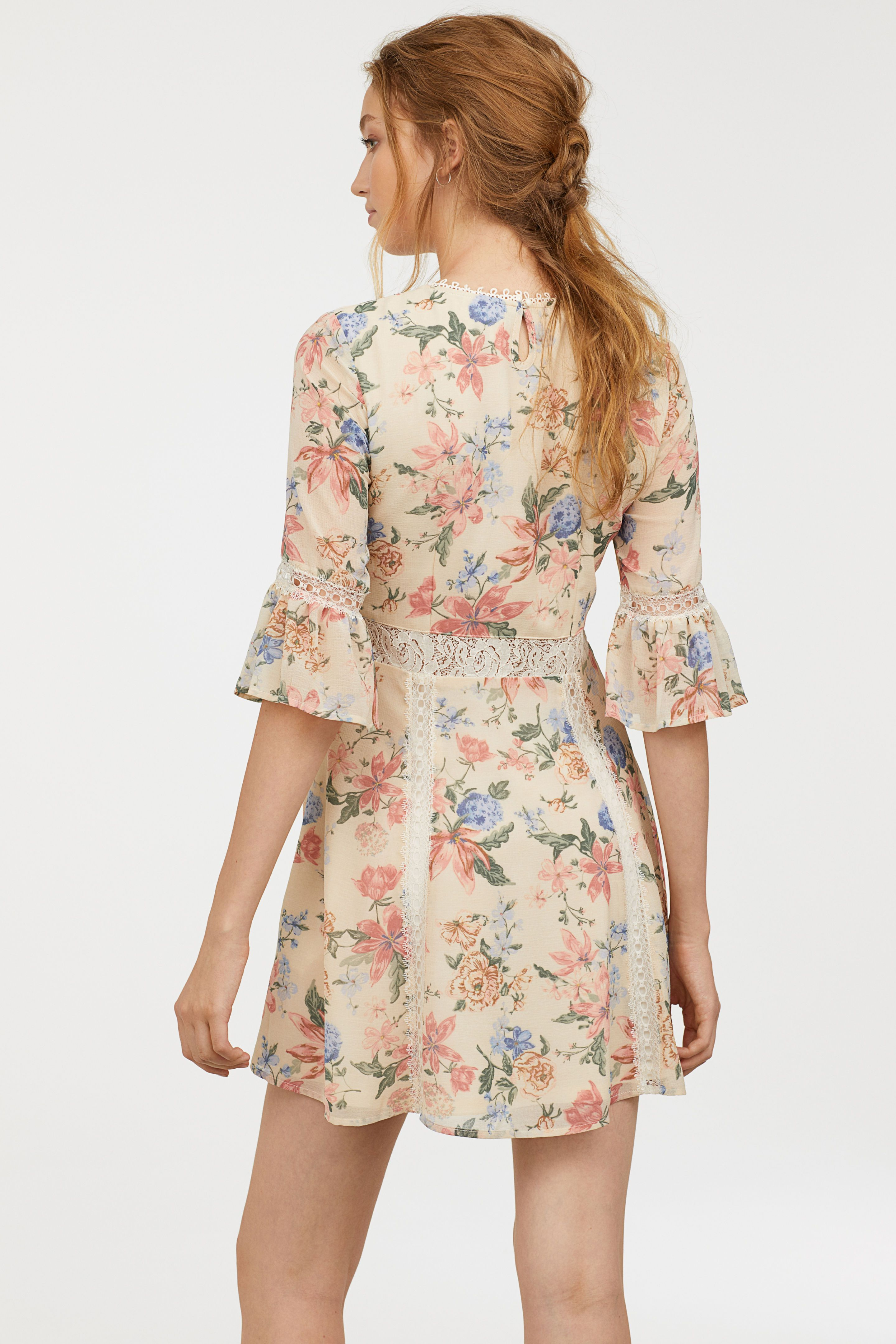 de0f579f80 Chiffon dress with lace - Natural white Floral - Ladies
