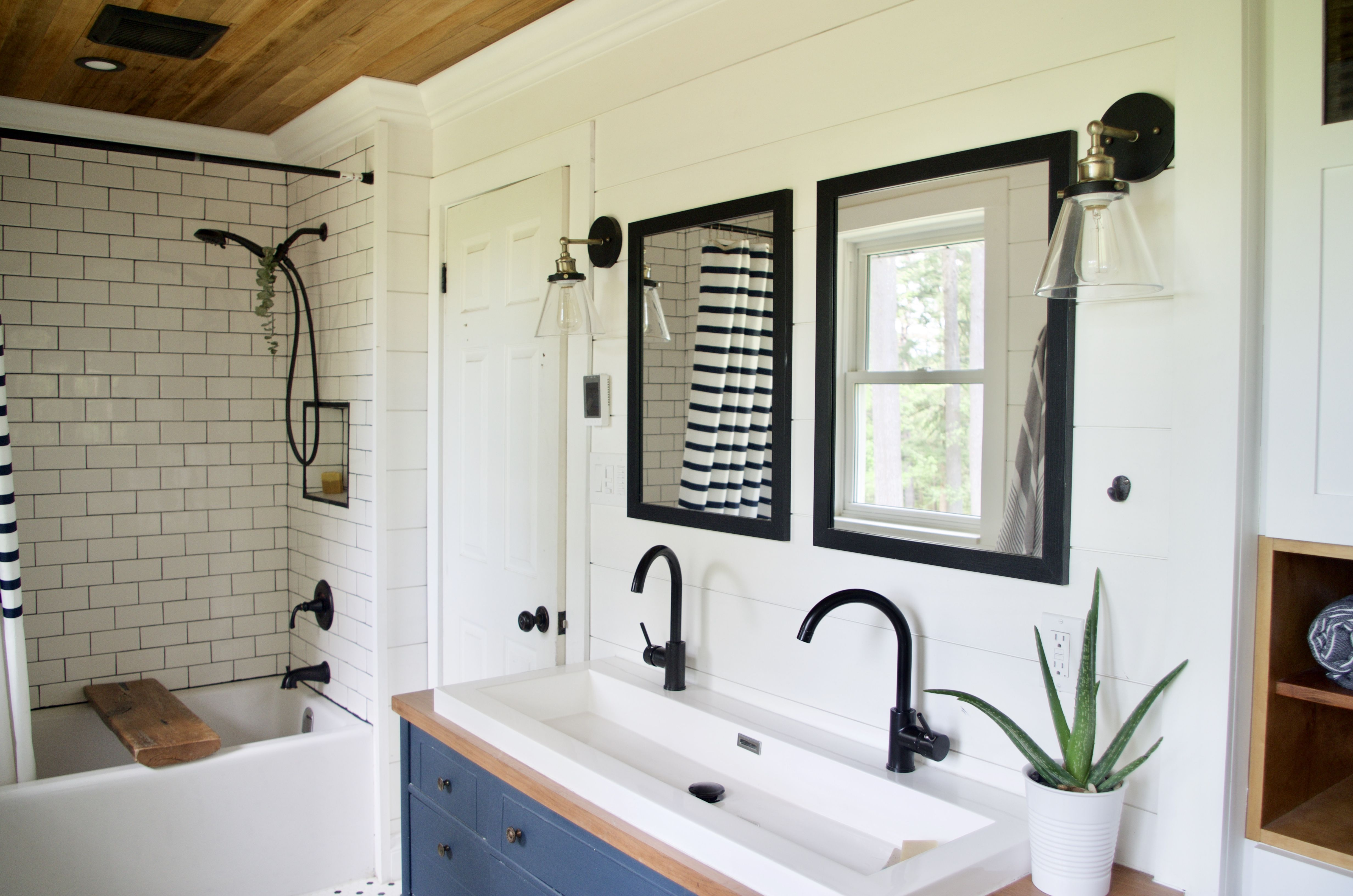 Double Mirrors Trough Style Sink With Two Faucets With Images