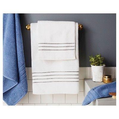 Hand Towel White Gray Stripe Fieldcrest Towel Bath Towels