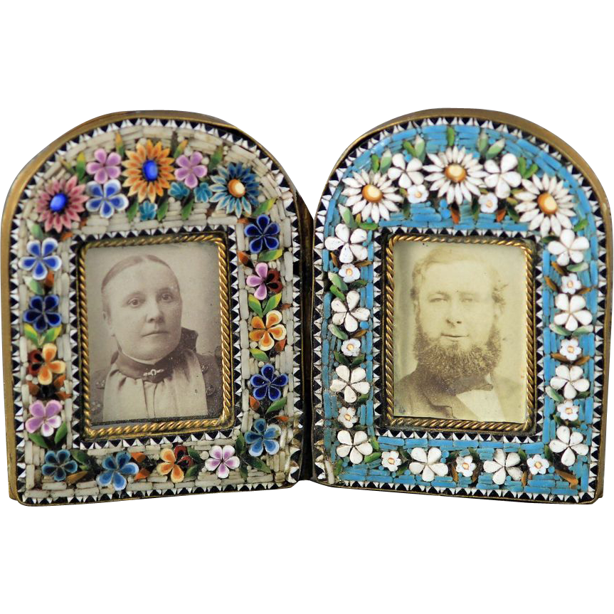 Italian Micro Mosaic Miniature Double Picture Frame Vcjt