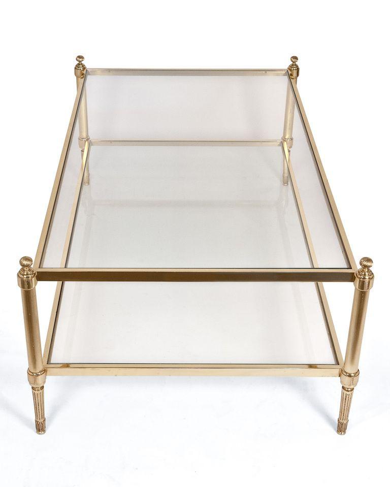 Modern Coffee Table With Brass Legs Maison Jansen Brass And