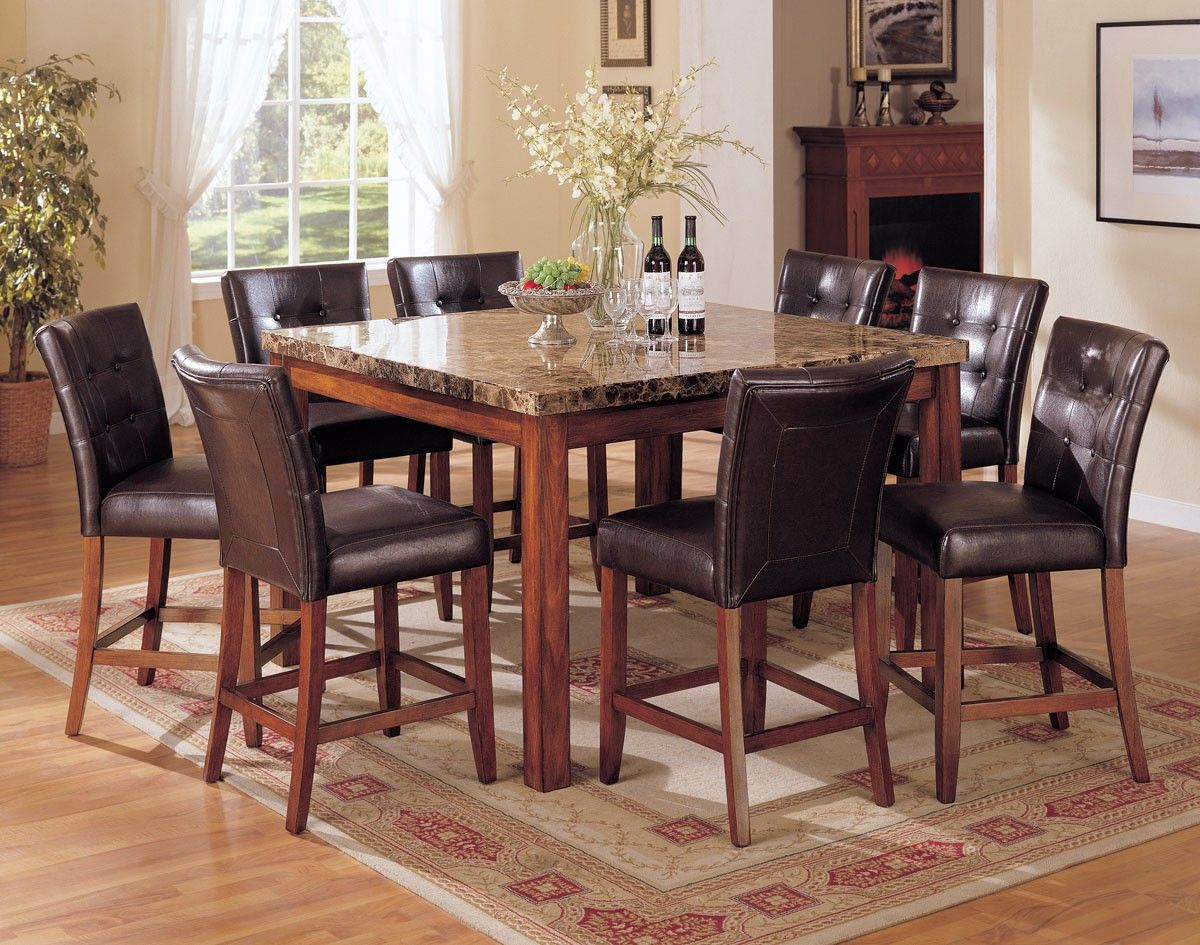 Genial Tall Dining Room Set With Laminate Stone Table Feat Leather Chairs And  Rectangular Carpet Ideas