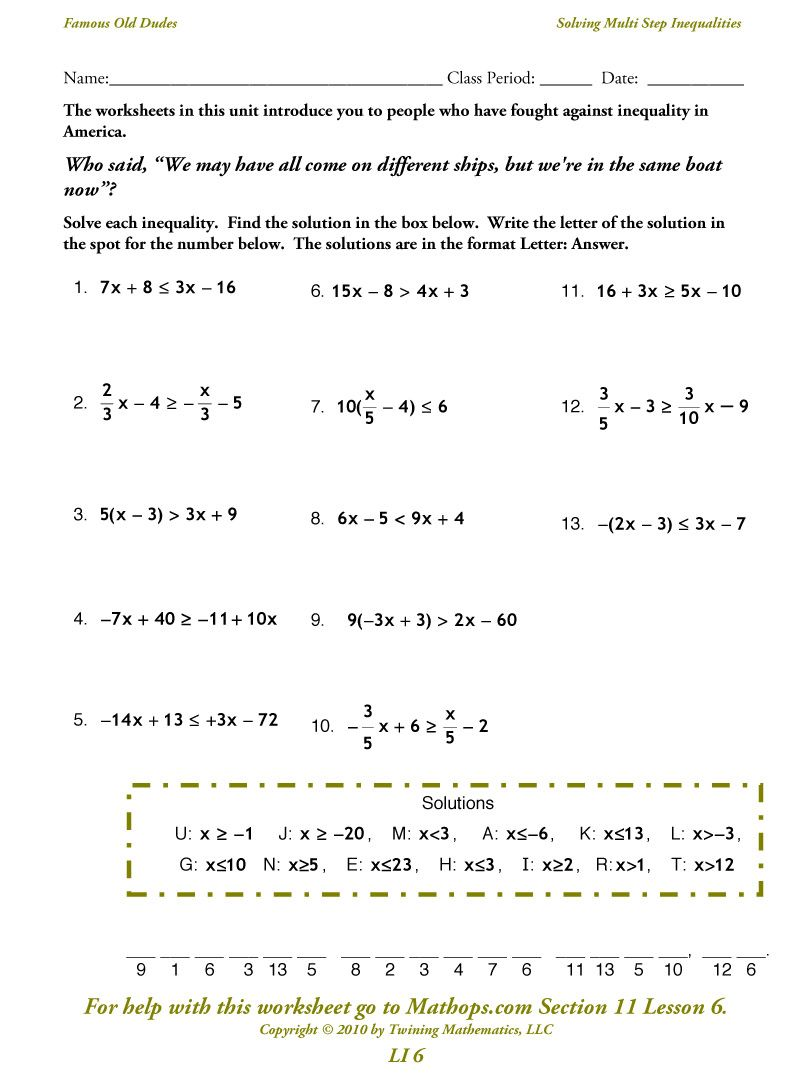 Worksheets Simple Inequalities Worksheet multi step inequalities school pinterest inequalities
