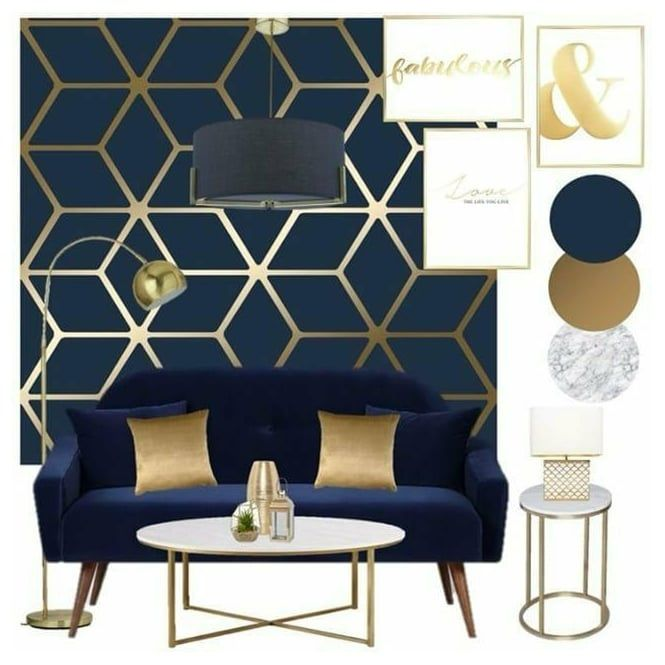 Cubic Shimmer Metallic Wallpaper Navy Blue Gold: Cubic Shimmer Metallic Wallpaper Navy Blue Gold In 2020