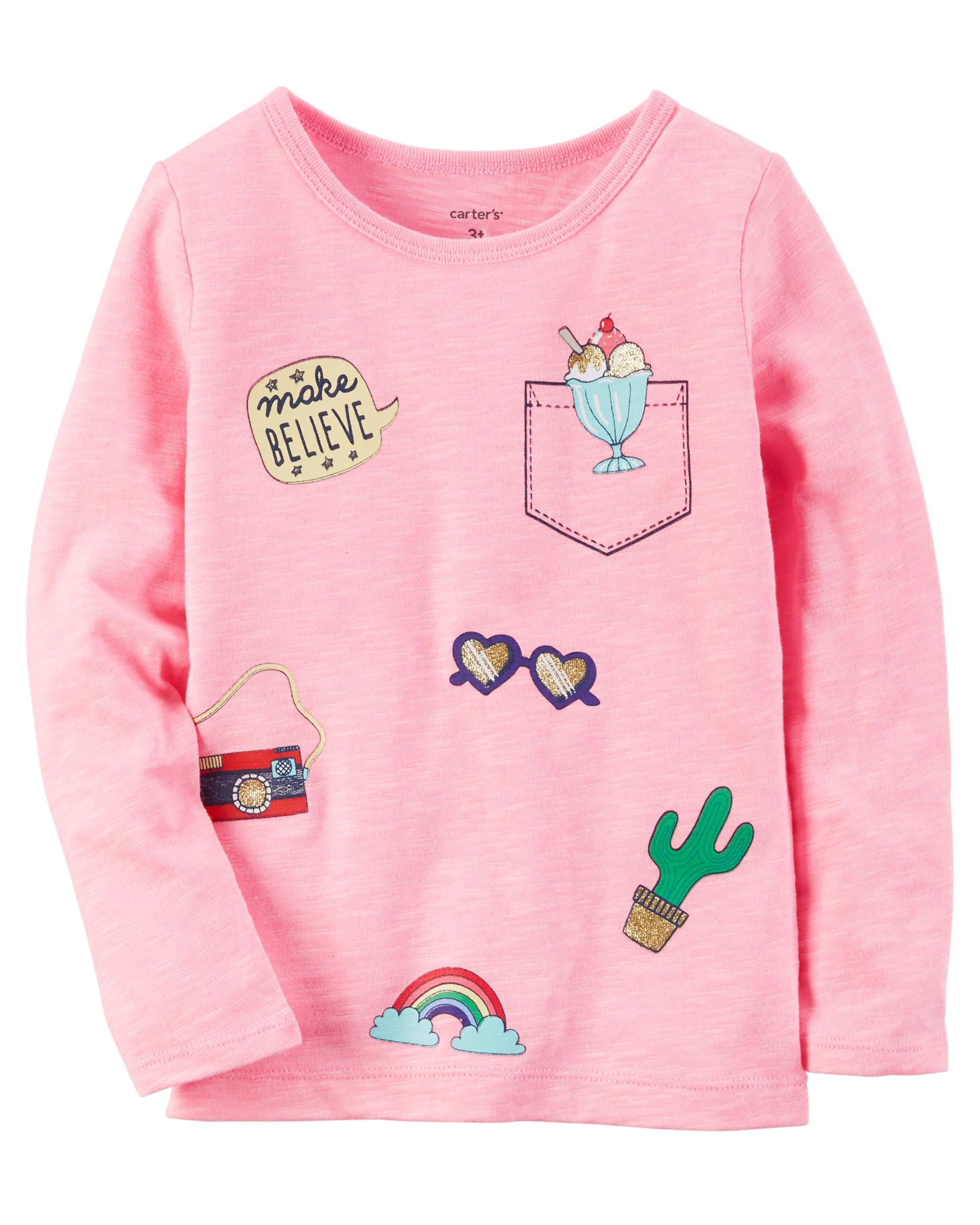 e02764c6d Kid Girl Long-Sleeve Neon Patch Graphic Tee from Carters.com. Shop clothing  & accessories from a trusted name in kids, toddlers, and baby clothes.
