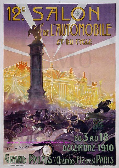 De fonseca 12e salon cycles automobile 1910 grand palais - Affiche salon de l auto ...