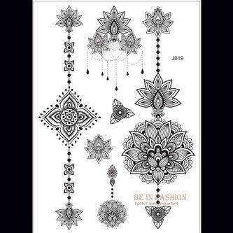 9a72f6212924d 1pc new black henna tattoo fake lace flash Arabic Indian Mandala rose  butterfly wedding for bride art body painting hand arm hot